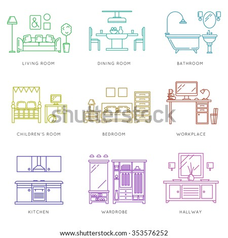 Home rooms interior in linear style. Kitchen bedroom wardrobe dining room. Vector illustration icons set - stock vector