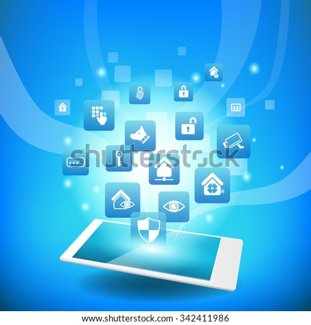Home Security Concept - smart phone or digital tablet pc with home security icon - stock vector