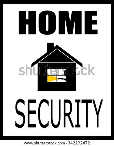 Home Security Design With Burglar In House Stock Vector