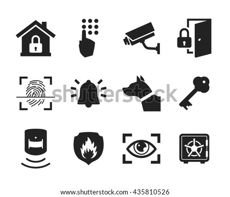 Home Security Icons Set // Black & White