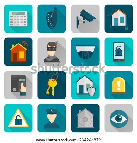 Home security safety and protection burglar alarm system flat icons set isolated vector illustration. - stock vector
