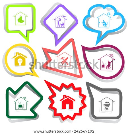 Home set. Paper stickers. Vector illustration. - stock vector