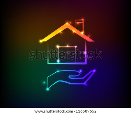 Home sign,Abstract background,Vector - stock vector