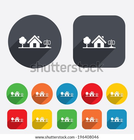 Home sign icon. House for sale. Broker symbol. Circles and rounded squares 12 buttons. Vector - stock vector