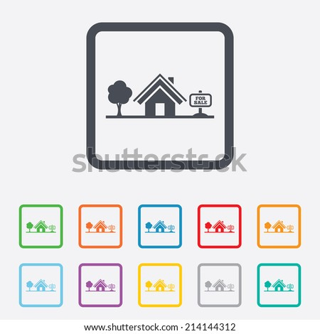 Home sign icon. House for sale. Broker symbol. Round squares buttons with frame. Vector - stock vector