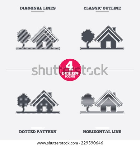 Home sign icon. House with tree symbol. Diagonal and horizontal lines, classic outline, dotted texture. Pattern design icons.  Vector