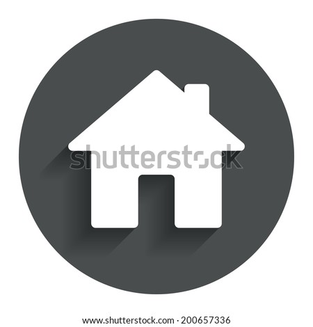 Home sign icon. Main page button. Navigation symbol. Circle flat button with shadow. Modern UI website navigation. Vector - stock vector