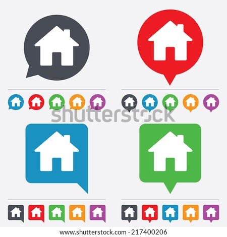 Home sign icon. Main page button. Navigation symbol. Speech bubbles information icons. 24 colored buttons. Vector - stock vector