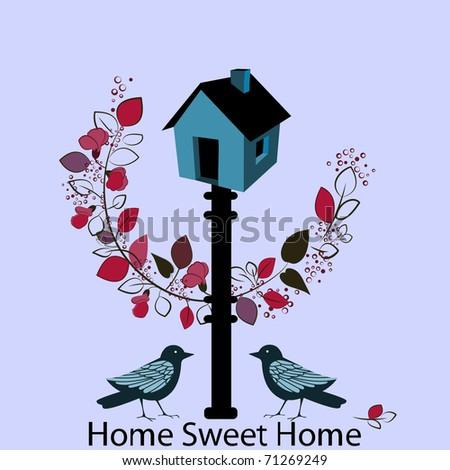 home sweet home birdhouse - stock vector