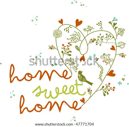 home sweet home floral words with bird - stock vector