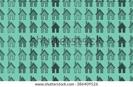 Home sweet home house pattern in vector. Abstract House background, can be used for wallpaper, cover fills, web page background, surface textures. Geometric simple print. - stock vector