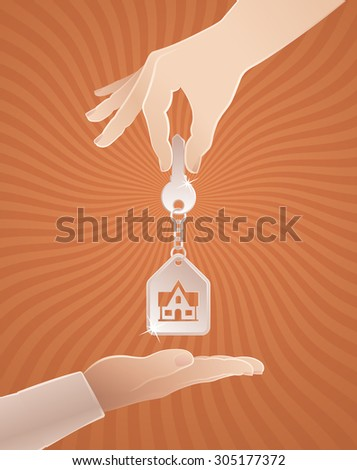 Home Sweet Home Key. Vector illustration on the subject of Real Estate. - stock vector