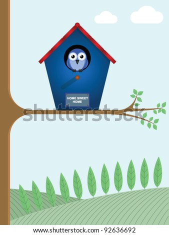Home sweet home sign on a birdhouse - stock vector