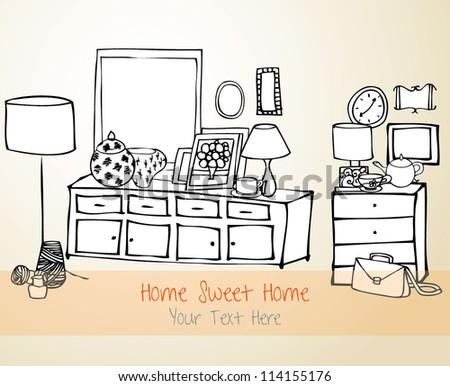 Home Sweet Home Vector Card - stock vector