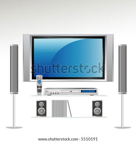 Home Theater Components: Television, DVS Player, Remote Control and Speakers. All components on separate layer--grouped so you can use them independently. - stock vector