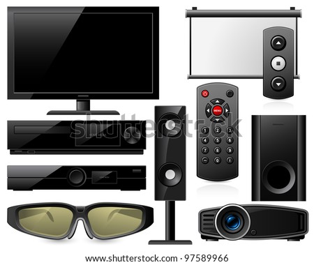 Home theater equipment - stock vector