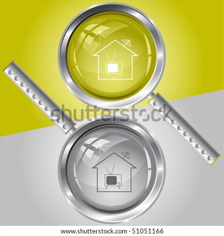 Home TV. Vector magnifying glass. - stock vector