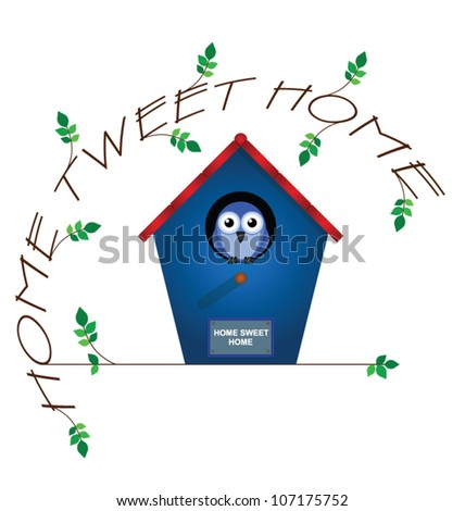 Home tweet home twig text isolated on white background - stock vector