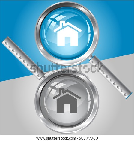 Home. Vector magnifying glass.