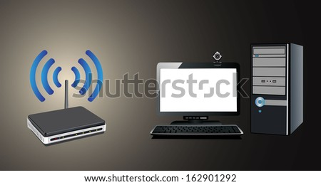 Home wifi network. Internet via router on pc - stock vector