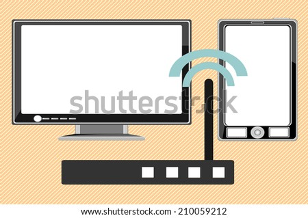 Home wifi network. Internet via router on pc, phone - stock vector