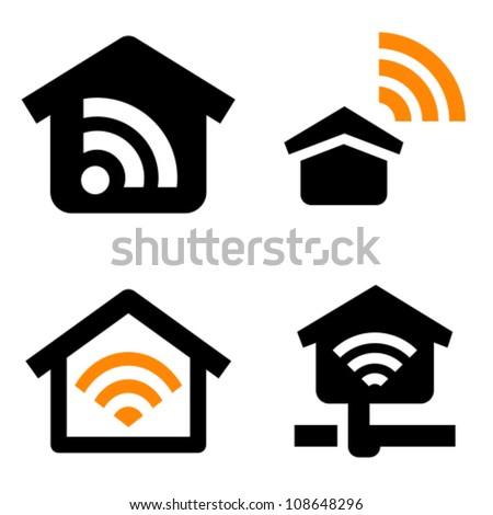 Home Wifi vector icon set - stock vector