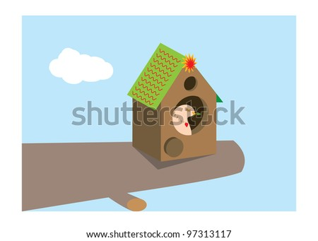 home with bird - stock vector