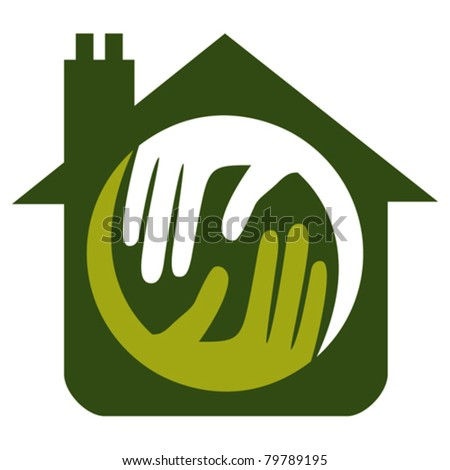 Home with caring hands concept. - stock vector