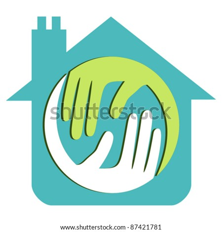 Home with 3d caring hands concept. - stock vector