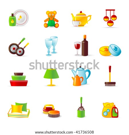 home  work and home equipment icons - stock vector