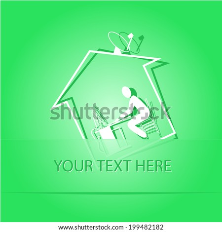 Home work. Paper sticker as bookmark. Vector illustration. Eps10. - stock vector