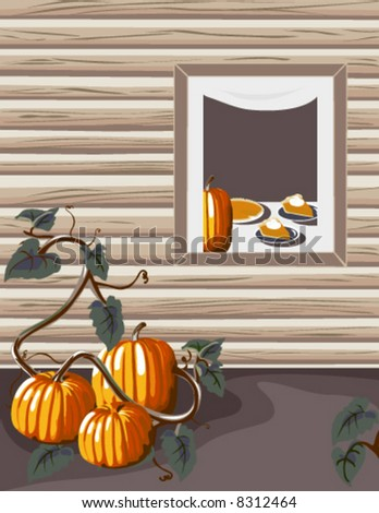 Homegrown pumpkins at a warm and inviting country home.  Inside pumpkin pie is being served!  AI-EPS8 format - stock vector