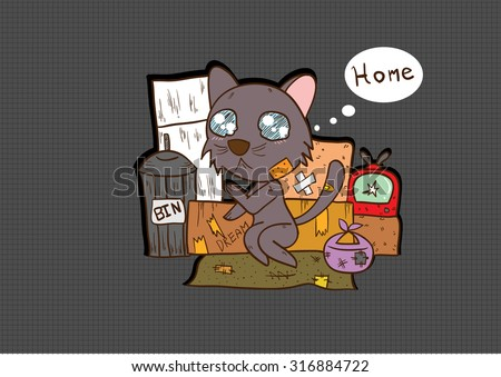 homeless cat . Campaign to help prevent abandonment And find homes for pets that are squalid. - stock vector