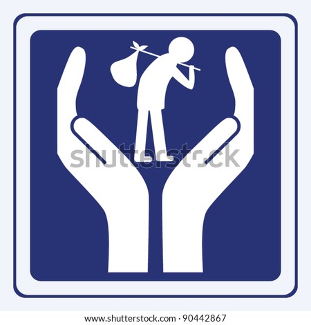 Homeless / Immigration sign concept vector - stock vector