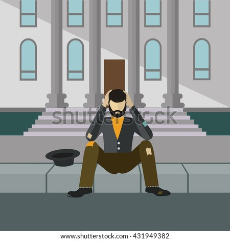 Homeless man begging in front of a building, sitting on the street, vector illustration - stock vector