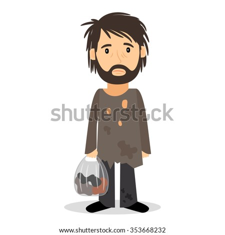 Homeless. Shaggy man in dirty rags and with a bag in his hand. Vector illustration. - stock vector
