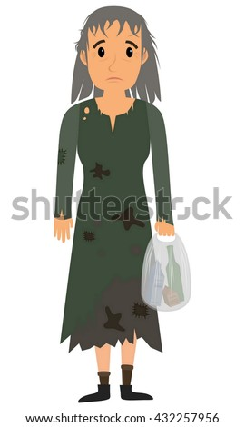 Homeless woman in dirty old clothes whith bag in hand. Vector flat cartoon illustration - stock vector
