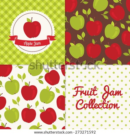 Homemade apple jam collection. Paper label and seamless patterns with Gingham, Polka Dot and Berries on color and light background. Perfect for wallpaper, wrapping paper, textile and package design - stock vector