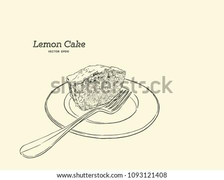 Homemade Lemon Cake Poppy Seeds Sugar Stock Vector 1093121408