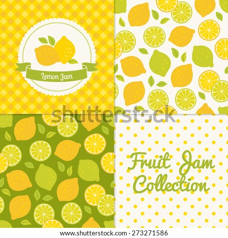 Homemade lemon jam collection. Paper label and seamless patterns with Gingham, Polka Dot and Berries on color and light background. Perfect for wallpaper, wrapping paper, textile and package design - stock vector