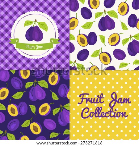 Homemade plum jam collection. Paper label and seamless patterns with Gingham, Polka Dot and Berries on color and light background. Perfect for wallpaper, wrapping paper, textile and package design - stock vector