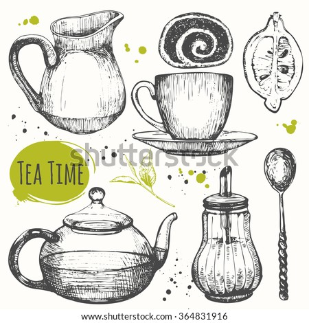 Homemade tea party. Traditions of teatime.  Cup, sugar bowl, spoon and teapot in sketch style.Decorative elements for your design. Vector Illustration with tea party symbols on white background.  - stock vector