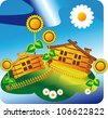 homes are located in the countryside in an open space enclosed by a fence  in the yard grow sunflowers in the sky, the sun is shining daisy - stock vector