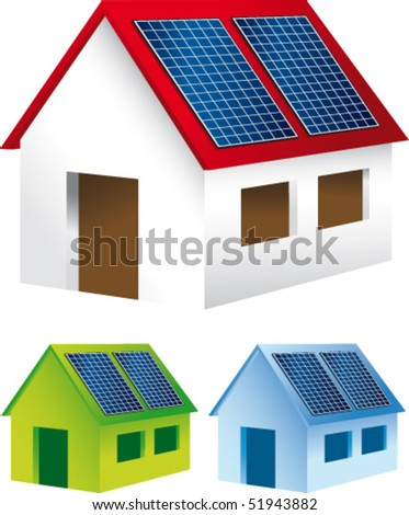 Homes with solar panels on the roof - stock vector