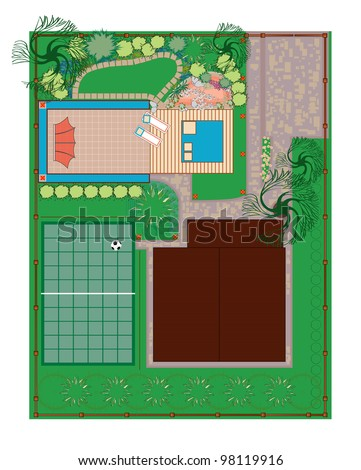 Homestead gardening project area. Recreation areas near the house. The project with a pond, alpine slide and playground. - stock vector