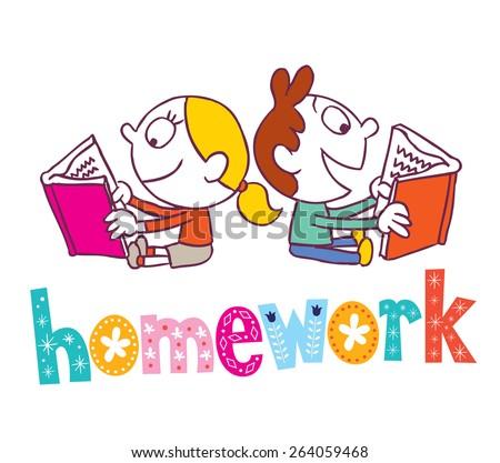 homework kids reading books stock vector 264059468 shutterstock rh shutterstock com Homework Sign Clip Art Homework Meme