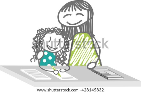 Homework, particular course, supports school A parent or a teacher helps a child to work, doing homework, or for the supports school - stock vector