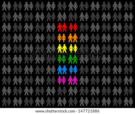 Homosexual Couples - Icons of gay couples. The different colors are showing a rainbow flag. Vectors on white background. - stock vector