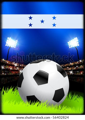 Honduras Flag and Ball on Stadium Background Original Illustration - stock vector