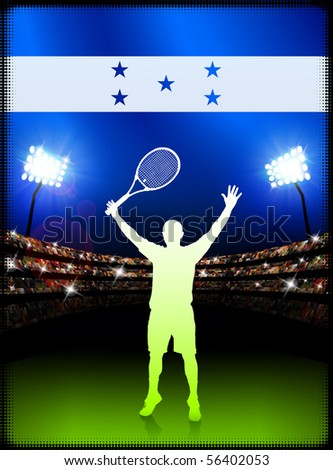 Honduras Flag and Tennis Player on Stadium Background Original Illustration - stock vector